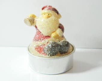 3 x seated Santa Claus candle