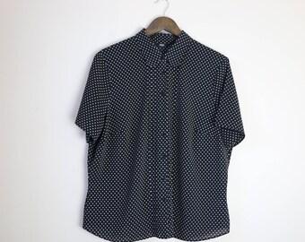 Large Black Polka-Dot Short Sleeve Shirt UK Size 20