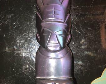 Black Stone Obsidian Mayan Aztec Carved Idol Statue Figurine