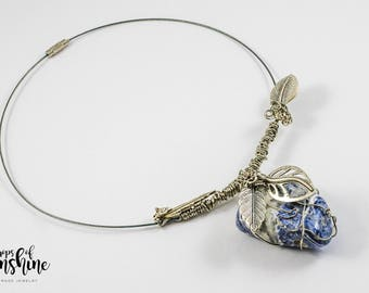 Blue strawberry necklace