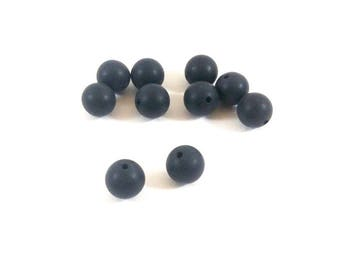 Set of 10 8 mm effect black agate beads frosted (Ref.78)