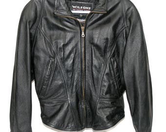 Wilson Women's Cropped Leather Jacket Medium Size
