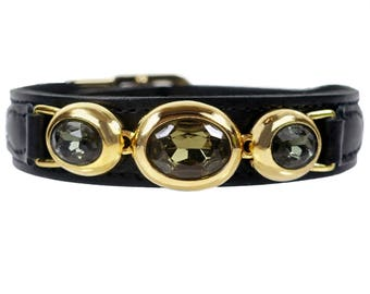 Regency Collar in Black Patent Leather and Black Diamond Swarovski crystals