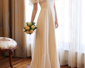 Wedding Frill  shoulder maxi dress