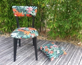 "Vintage black fabric ""Tropical"" Chair"