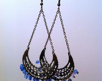 Bohemian blue dangle earrings