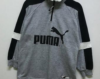 Rare!!! Puma Sweatshirt Pullover Big Abd Small Logo Spellout Multicolors Stripes Half Zipper