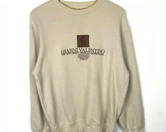 Vintage!!! Gianni Valentino Pullover Spellout Small Logo Embroidery Jumper