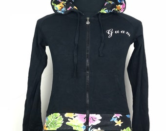 Rare!!! Guam by Island Design Collection Hoodie Spellout Multicolors Flowers Double Pockets Full Zipper