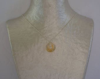 Necklace Citrine yellow stone Donuts and silver chain.