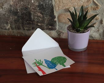 Square linocut - tree card