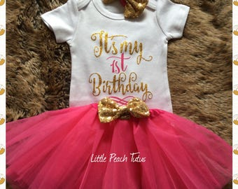 Baby Girls First Birthday outfit, 1st birthday Tutu dress