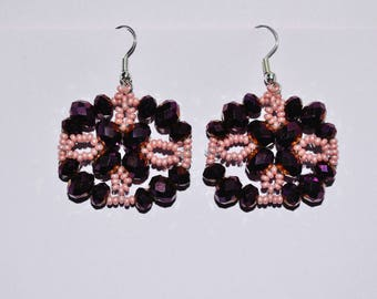 Earrings pink and purple reflections shiny