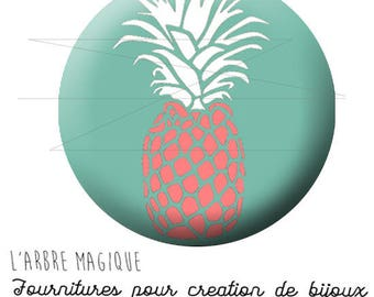 Fancy 25 mm pineapple pink cabochon turquoise ref background 1672