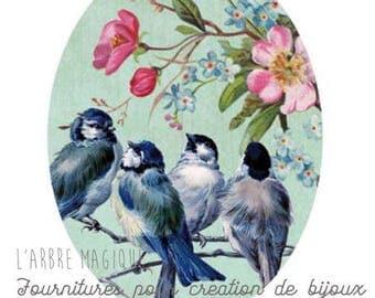 Cabochon glass 18 x 25 mm flower 1825c467 tree swallow bird