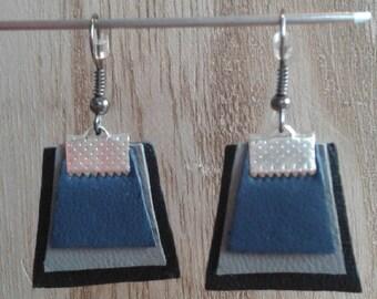 Leather, blue, gray, black earrings