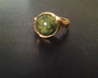 """""""gold"""" solid brass and natural and semi-precious stone ring"""