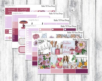 Bake Til You Drop // Erin Condren Horizontal // Weekly Sticker Kit