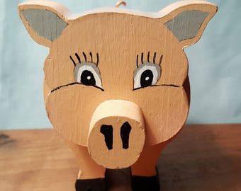 Pig Carving Statue Handmade Unique Craft Collectible Cute Decoration