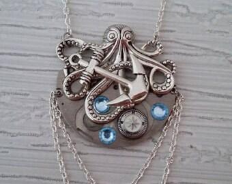 Steampunk octopus pendant necklace