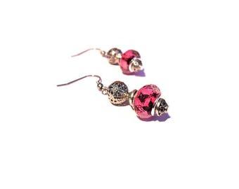 Retro earrings, faceted Pink Butterflies black