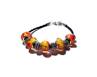 Bracelet European beads on black faux leather cord