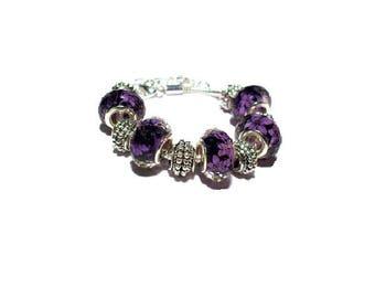 Bracelet purple European beads