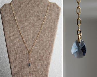 Blue Swarovski Teardrop Y Necklace - Dainty Minimalist Jewelry - Gold Chain