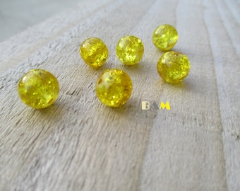 Set of 10 yellow cracked glass 10mm beads