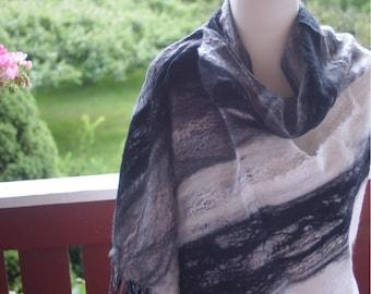 Classic Black White Shawl Nuno Felted Merino Wool Felt Wrap