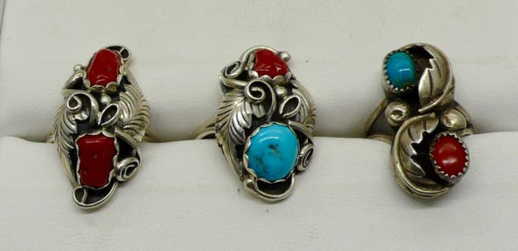 Lot of 3 Native American Turquoise, Coral Mixed Sterling Silver Rings