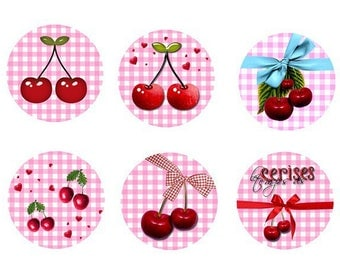 "6 cabochons ""cherries"", 20mm"