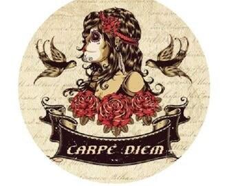 "pretty cabochon ""carpe diem"", woman, 20mm"