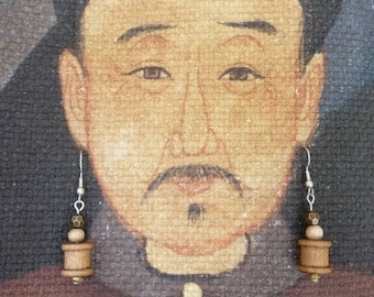 Spool of thread wooden earrings