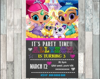 Shimmer and Shine chalkboard party Invitation, Shimmer and Shine invitation, Shimmer and Shine chalkboard Birthday Invitation DIGITAL FILE