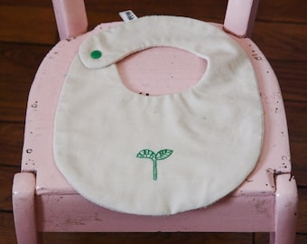 ORGANIC cotton bibs embroidered by hand