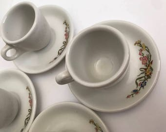 1950's Vintage Tea Cups Floral Porcelain China Set of 4   Vintage Mugs   Vintage Cups   Antique Cups   Teacups