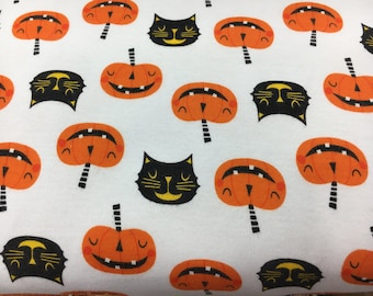 Halloween fabric, fabric by the yard, knit fabric, fabric pumpkins, halloween party, cat fabric, pumpkin fabric, knit by the yard