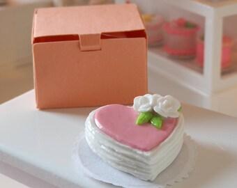 Miniature Heart Cake - White Flowers, Heart Cake for Barbie or Blythe, Miniature Valentine's Day Cake, Pink Dollhouse Cake