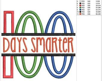 100 Days Smarter Applique Embroidery Design