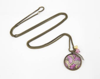 Necklace mid-length Cabochon pink #1320