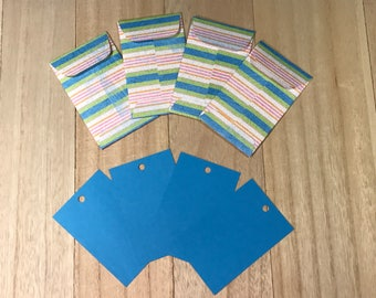 Blue gift tags with striped envelopes