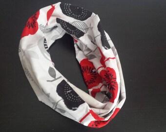 Poppy Flower infinity scarf