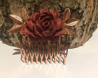 Burgundy Flower Hair Comb Rosegold Wedding Wine Bridesmaids