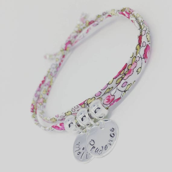 ★ Grigri MOM Liberty ★ Bracelet Liberty Eloise pink with 2 custom ENGRAVINGS