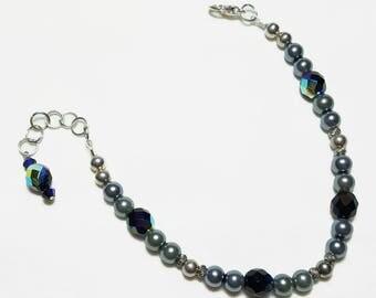 Black Pearl Black Crystal Beaded Bracelet