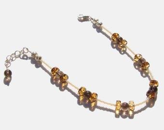 Smoky Quartz Gemstone Beaded Ankle Bracelet 8.5