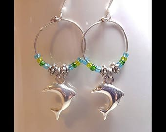 Silver Dolphin Charm Small Hoop Earrings