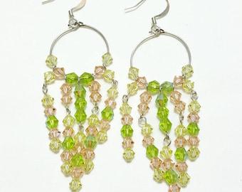 Summer Sherbet Crystal Hoop Beaded Earrings