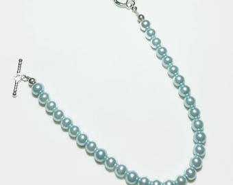 Light Blue Pearl Wedding Bridal Beaded Bracelet